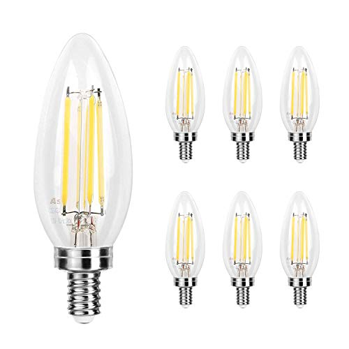 Ascher E12 LED Classic Candelabra Clear Light Bulb / 4W, Equivalent 40W, 420LM / Daylight White 5000K / Filament Clear Glass/Non dimmable/Pack of 6