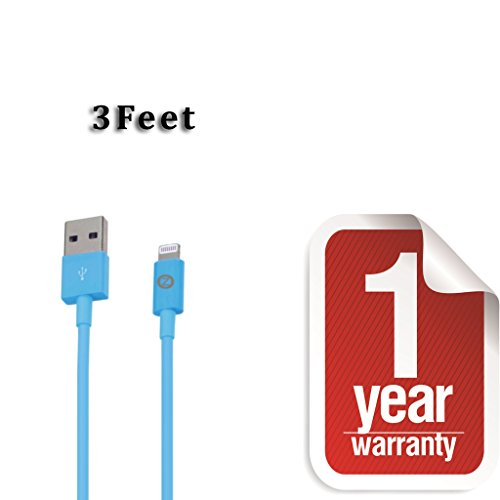 Zenotech USB Sync Data Charging Lightning 3 Ft Cable Compatible for iPhone 5 / 5C / 5S / 6 & 6 plus (IOS 8 Supported) iPad Mini iPod Touch 7th generation Blue