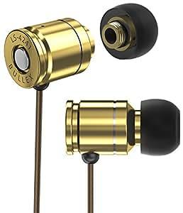 Sentey BULLEX GOLD Earbuds Earphones In Ear Headphones Headset In-Line Microphone Stereo Bass for travel running Men Kids Girls Audiophile Sport Gaming Pc Mac Phones EVA Carrying Case Included LS-4241
