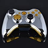 DatConShop(TM) Chrome Silver modded Full Shell Gold Buttons for Xbox 360 Wireless Controller