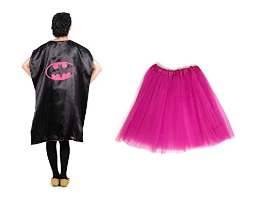 [Rush Dance Deluxe Comics Teen/ Adult/ Plus Size Satin Superhero CAPE + TUTU (Teen/ Adult, Batgirl (Hot Pink] (Plus Size Deluxe Superman Costumes)