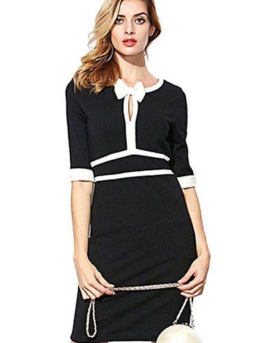 PU&PU Robe Aux femmes Gaine Sexy / Street Chic,Mosaïque Col en V Mini Polyester , black-l , black-l
