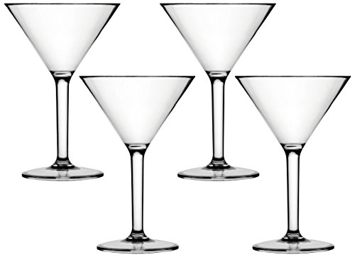 Circleware Soiree Martini Wine Glasses, Set of 4, 12.75 oz., Clear (Polycarbonate Martini Glass)