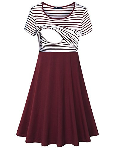 Quinee Patchwork Dress, Mama Short Sleeve Crew Neck Stripes Clothes for Nusring...