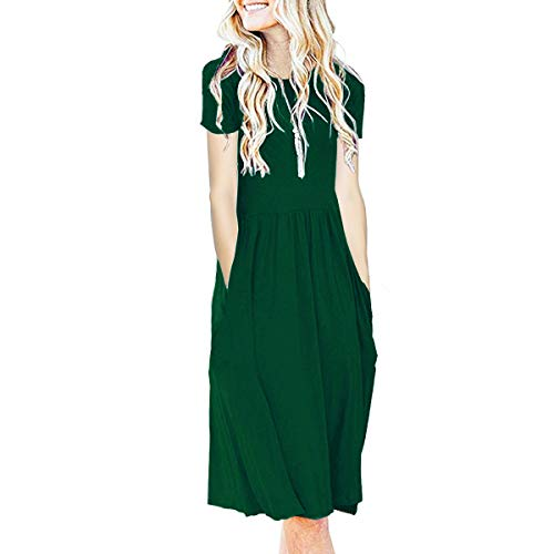 IMBOAZ Women's Short Sleeve Pleated Empire Waist Loose Swing Plain Casual Midi T Shirt Flare Dress with Pockets