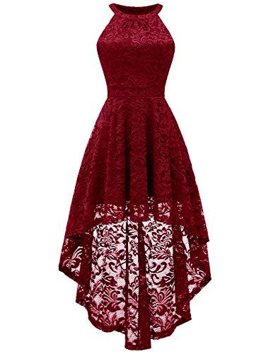 (BeryLove Women's Halter Hi-Lo Floral Lace Cocktail Dress Sleeveless Bridesmaid Formal Swing Dress)