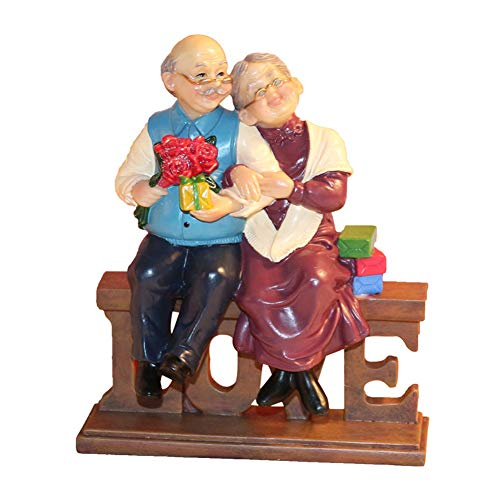letsgood Creative Handmade Figurines Resin Elderly Couple Statue for Anniversary, Wedding, Birthday, Thanksgiving Day, Home Decor (Style 2: Love)