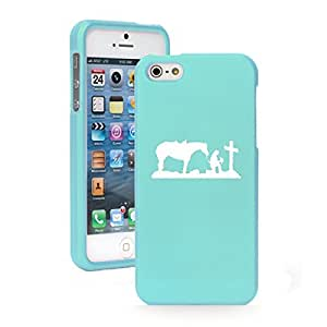Apple iPhone 5 5s Snap On 2 Piece Rubber Hard Case Cover Cowgirl Praying Cross Horse (Light Blue)