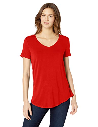 (Amazon Essentials Women's Solid Short-Sleeve V-Neck Tunic, Red Coral, L)