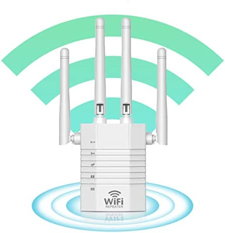 WiFi Extender - WiFi Repeater, WiFi Booster Cover Up to 2500 squareft and 30 Devices, 1200Mbps Wireless Extender Booster with 4 High-Gain Antennas