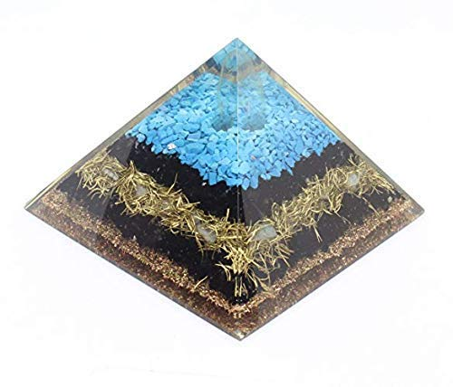(Orgone Pyramid Energy Generator Turquoise Black Tourmaline Pyramid for Emf Protection Detoxification Meditation Healing Chakra)
