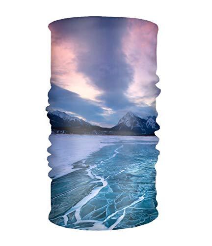 Headband Winter Lake Mountain Frozen Snow Cloud Sunset Sweatband Tube for Riding, Off Roader, Biker, -