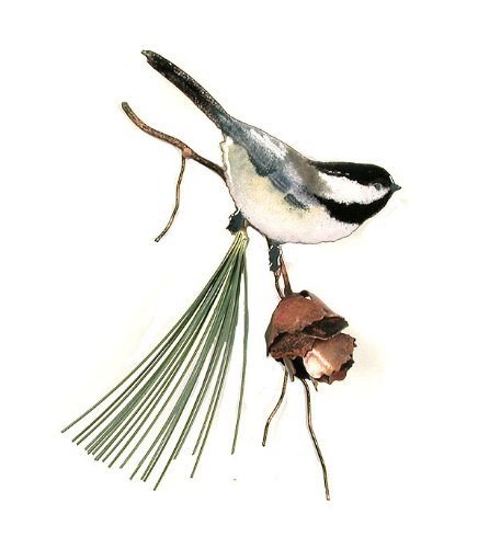 Bovano Enamel Wall Art Home Decor Chickadee with 3D Pine Cone made in Connecticut
