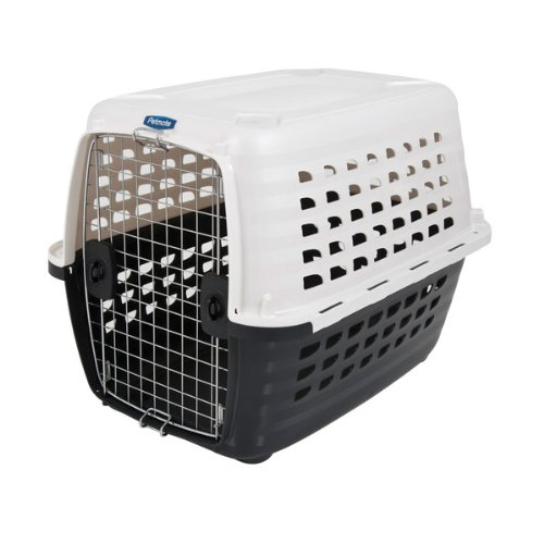 Petmate 41034 Compass Plastic Pets Kennel with Chrome Door, Metallic White/Black, My Pet Supplies
