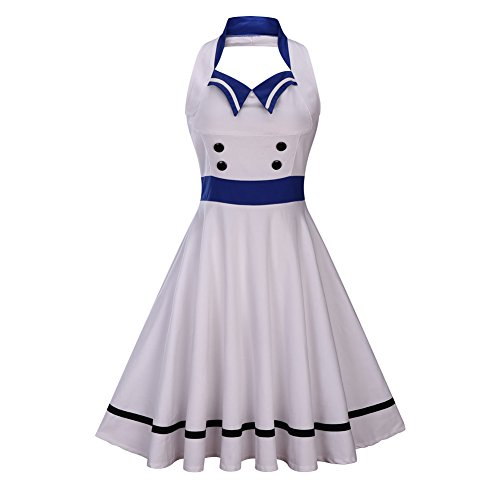 Wellwits Women's Vintage Pin Up Sailor Collar Halter Swing Dress White S -
