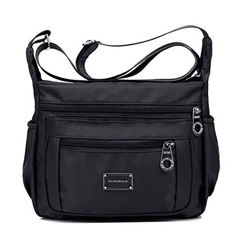 Crossbody Shoulder Bag for Women With Adjustable Shoulder Strap + Multiple Zippered and Elastic Pockets | Organize Wallet, Passport, Boarding Pass, & More | Water Resistant Ny (Black)