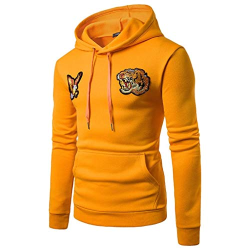 g Sleeve Hoody Hoodie Hooded Sweatshirt Pullover Fall Winter (Yellow,XL) ()