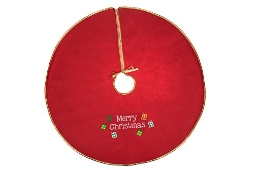 "Gold Edged Merry Christmas Embroidered Tree Skirt by Clever Creations | Festive Red and White Design | Traditional Holiday Theme | Tie Closure | Helps Contain Needle and Sap Mess | 32"" Diameter (Christmas Small Tree Skirts)"