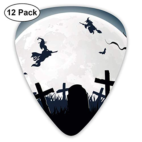 - Custom Guitar Picks, Halloween Witch Broom Silhouette Cemetery Lawn Guitar Pick,Jewelry Gift For Guitar Lover,12 Pack