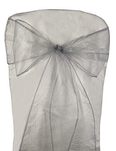 Gatton 50pcs Organza Chair Sashes Chair Covers ding Party Favors Banquet Decor Sheer Organza Fabric Sash 7 inch x 108 inch / 18cm x 275cm (Silver Gray) | Model WDDNG - 2378 | ()