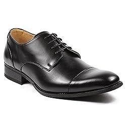 M. Lotti Men's Black Cap Toe Lace Up Oxford Dress Shoes (7.5)