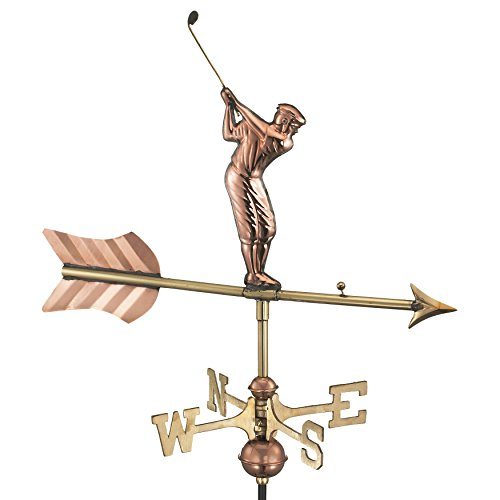 Good Directions 816PG Golfer Garden Weathervane, Polished Copper with Garden Pole
