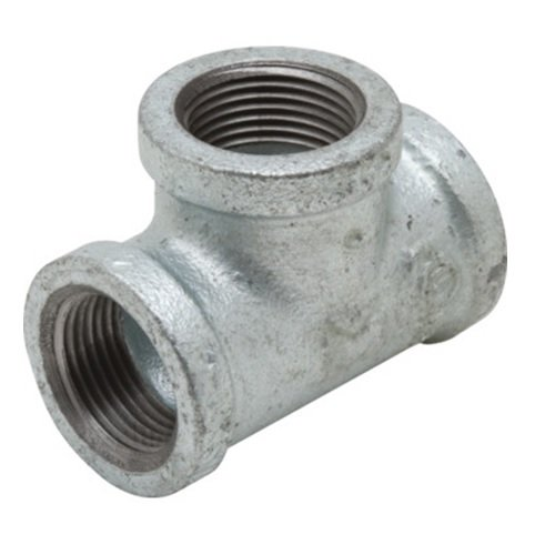 "Everflow Supplies GMRT1218 1-1/2"" x 1"" x 1-1/2"" Galvanized Malleable Reducing Tee with Female Threaded Fitting"