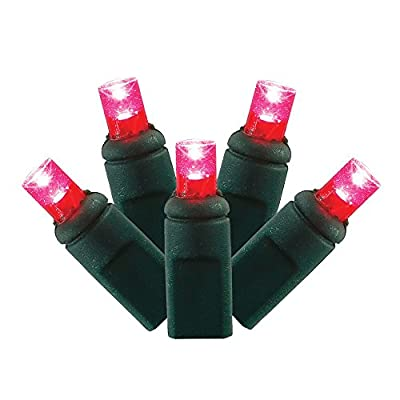 4 Sets of 50 Magenta LED Wide Angle Christmas Lights - Green Wire