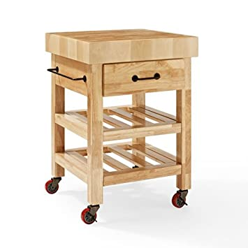 Crosley Furniture Marston Butcher Block Rolling Kitchen Cart   Natural Amazing Design
