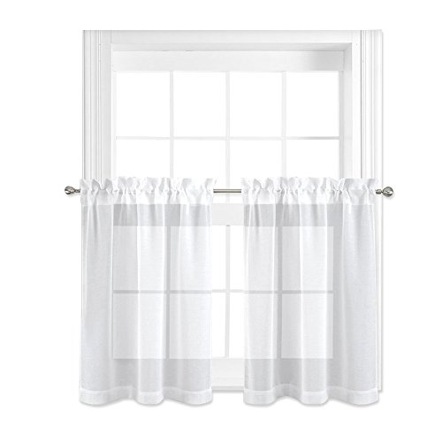 NICETOWN Sheer Curtains for Kitchen Window - Home Fashion Faux Linen Voile Drapes for Small Windows (White, Set of 2 Panels, 55