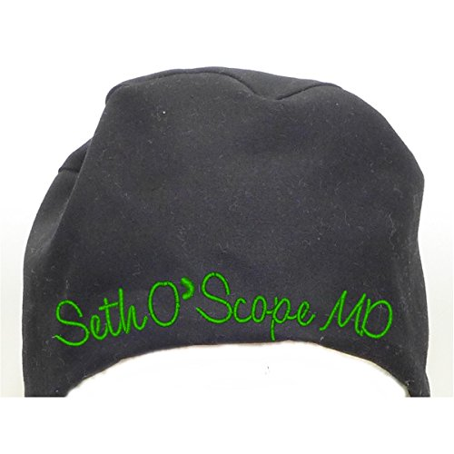 S1FM! Personalized Scrub Cap, Black, Handmade, Med, GN Dbl Cotton (Scarf Mens Personalized)
