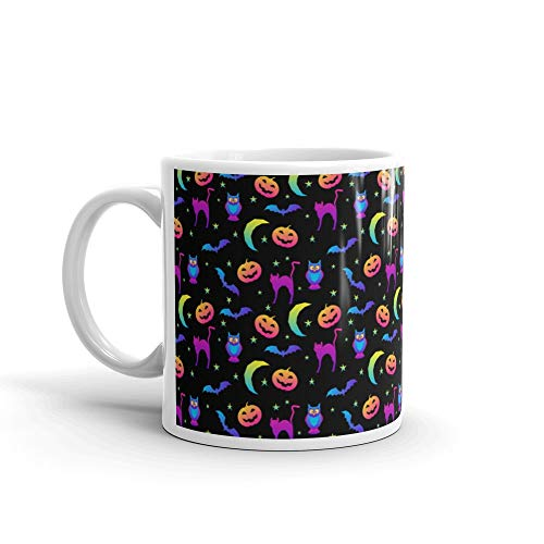 Abstract Rainbow Happy Halloween Seamless Cheap Funny Cute Mug Ceramic Cup 11 Oz -