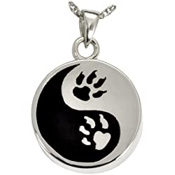 Memorial Gallery Pets 3551S Paw Print Yin Yang Sterling Silver Cremation Pet Jewelry