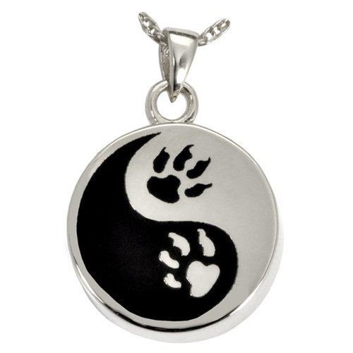 Memorial Gallery Pets 3551S Paw Print Yin Yang Sterling Silver Cremation Pet Jewelry by Memorial Gallery Pets