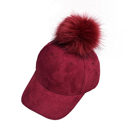 Start Women's Girls Fur Ball Hip Hop Hat Casual Baseball Cap (wine red)