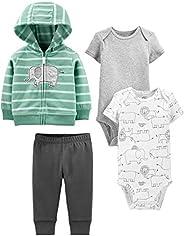 Simple Joys by Carter's Baby 4-Piece Neutral Jacket, Bodysuit, and Pant Set, Mint Elephant, New