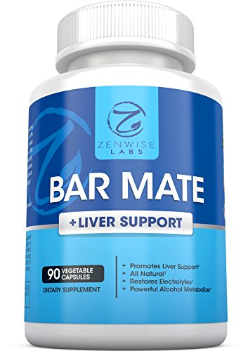 Bar Mate - Hangover Relief & Liver Support Supplement - For Headache, Dizziness & Nausea Prevention - Restores Vital Electrolytes - With Prickly Pear Extract + Vitamin B12, B1 & C - 90 Capsules