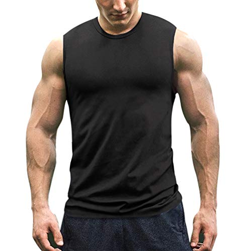 COOFANDY Men's Workout Tank Top Sleeveless Muscle Shirt Cotton Gym Training Bodybuilding Tee Black ()