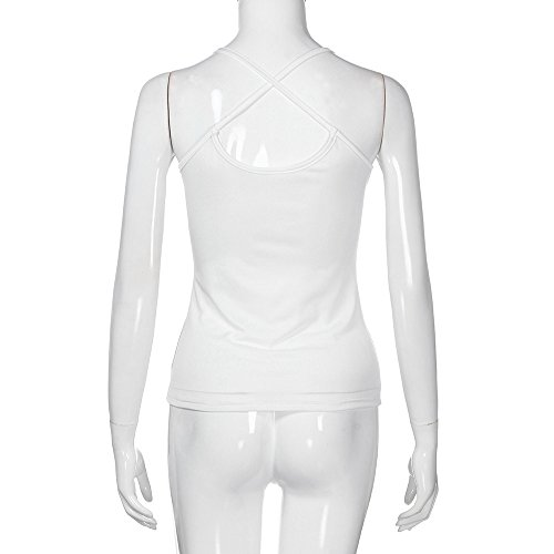 Dainzuy Deep V Neck Tank Tops Sleeveless Lace Mini Vest Sexy Camisole Spaghetti Strap Tank Blouse foe Women Teen Girls White by Dainzuy Women Tops (Image #5)