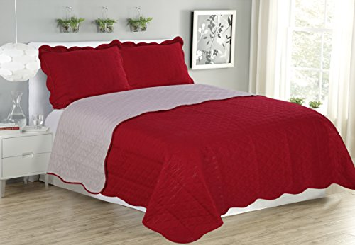 Red Spread (GLORY HOME DESIGN-3 PIECE SOFT LUXURY MICROFIBER REVERSIBLE BED SPREAD/ BED COVER/ COVERLET/QUILT SOLID- AQUA, SAGE, SAND, PURPLE, GOLD, NAVY, CARAMEL, RED, BEIGE (QUEEN,)
