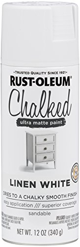 Distressed Paint Finish - Rust-Oleum 302591 Chalked Spray Paint, 12 oz, Linen White/White