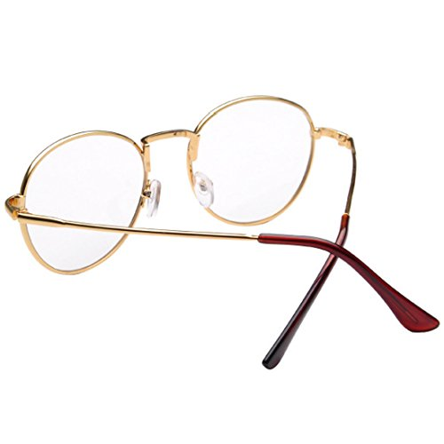 D.King Clear Lens Eyeglasses Metal Frame Retro Vintage Fashion Unisex Glasses Gold