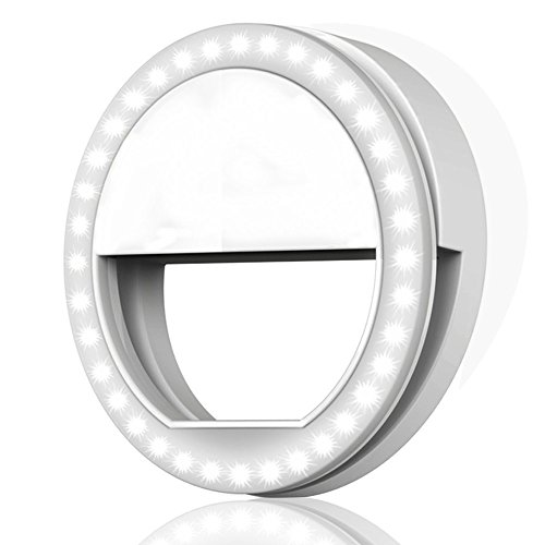 Selfie Ring Light, MITUTEN 36 LED 3-Level Brightness Dimmable Clip on Camera Light for iPhone 8/8Plus/7/7Plus/6/6Plus/6s/6s Plus 5/SE Galaxy S8/S8 Plus/S7/S6 Edge Photography Video and Most (Led Light Attachment)