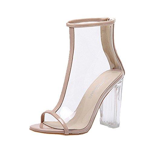Chic Heels Sandales Femme Chaussures À Été Transparentes Talons Kaki Peep Cheville Toe kinlene Bottines High Brides Sexy Mode Cuir 0wTx8Onqq