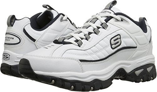 Skechers Men's Energy-Afterburn, White/Navy, 7.5 D-Medium