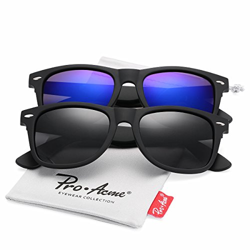 Pro Acme (Pack of 2) Polarized Wayfarer Sunglasses for Men Women (Black Lens +Blue Mirrored - 2 Wayfarer Sunglasses