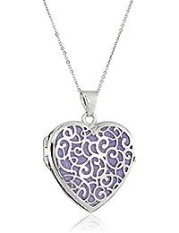 "Sterling Silver Italian Purple Heart Locket with Freeform Design Pendant Necklace, 18"""