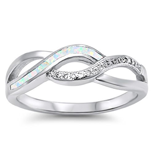 Trendy Fashion Crisscross Crossover Ring Round Cubic Zirconia Lab Created White Opal 925 Sterling (Fashion Trendy Cross)