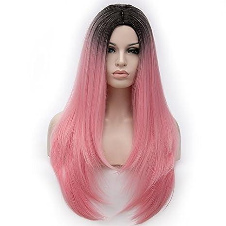 falamka sintética larga recta mujeres peluca cosplay peluca