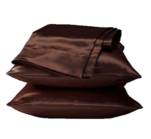 - 2 Pieces of Soft Charmeuse Satin Pillowcases Queen Size